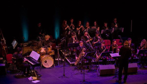 A youth big band performing on stage at Hull Truck Theatre